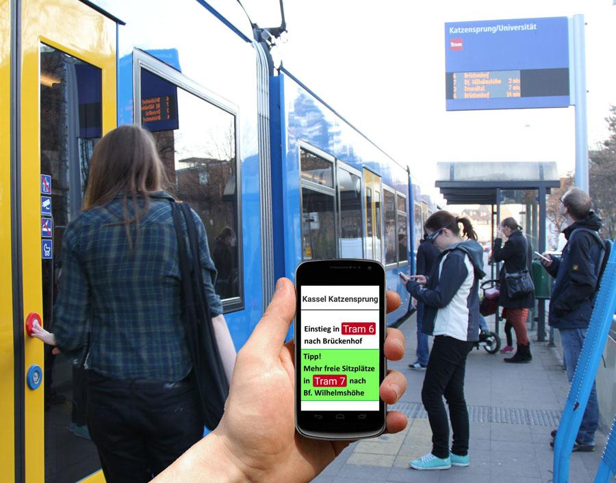 Anzeigen alternativer Trams mit niedrigerer Belegung
